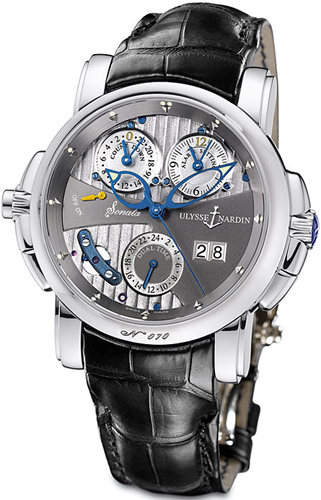 Ulysse Nardin Sonata Cathedral Dual Time 18K White Gold Watch, Preowned.670-88/212