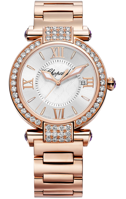 Chopard Imperiale 18K Rose Gold & Diamonds & Amethysts Ladies Watch, preowned.384221-5004