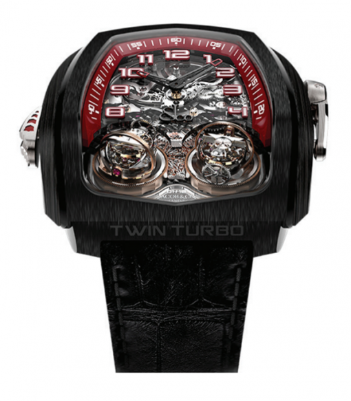 Jacob & Co Twin Triple Axis Tourbillon Minute Repeter Cathedral Gong  Black DLC Grade 5 Titanium Men's Watch, TT100.21.NS.NK.C
