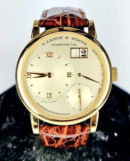 A. Lange and Sohne Lange 1 18K Yellow Gold Leather Unisex Watch, Preowned_111.021