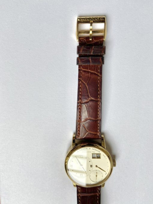 A. Lange and Sohne Lange 1 18K Yellow Gold Leather Unisex Watch, Preowned_111.021 2