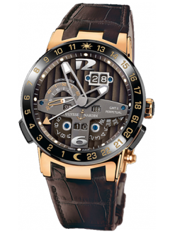 Ulysse Nardin El Toro Perpetual GMT 18K Rose Gold Men's Watch preowned.322-00