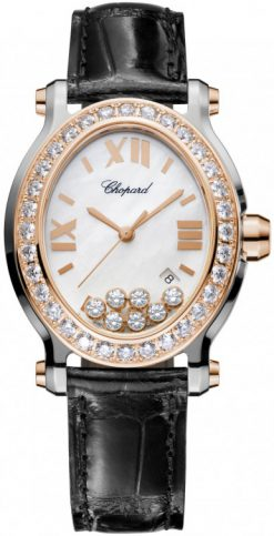 Chopard Happy Sport 18K Rose Gold, Stainless Steel & Diamonds Ladies Watch preowned.278546-6002