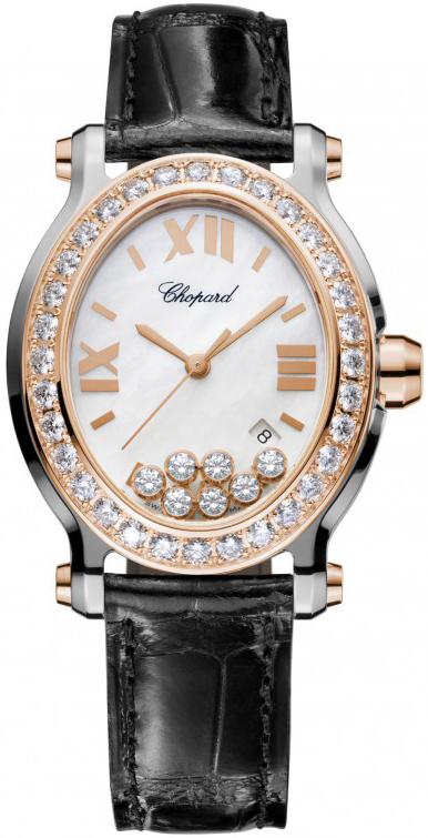 Chopard Happy Sport 18K Rose Gold, Stainless Steel & Diamonds Ladies Watch, preowned.278546-6002