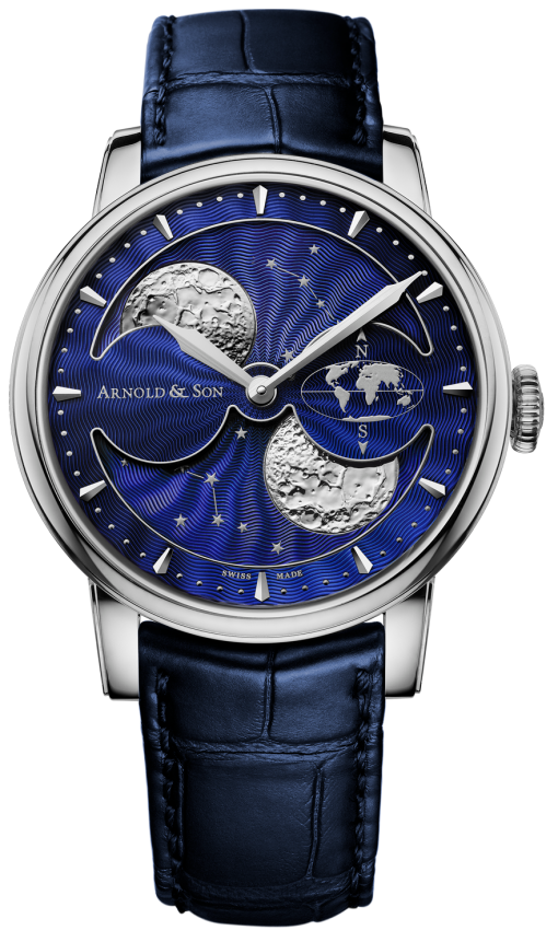 Arnold & Son Double Hemisphere Perpetual Moon Stainless Steel Men's Watch, preowned.1glas.u06a