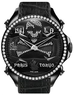 Jacob & Co Palatial Five Time Zone Pirate Black Dial Diamonds Mens Watch PZ500.11.RO.NQ.A