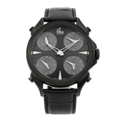 Jacob & Co Palatial Five Time Zone Black PVD Mens Watch, PZ500.11.NS.LA.A