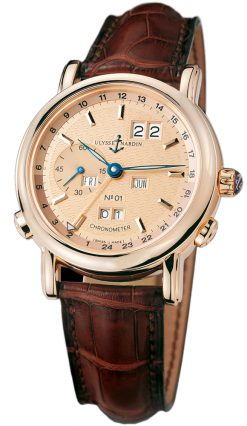Ulysse Nardin GMT Perpetual 18K Rose Gold Men's Watch preowned.322-88