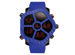 Jacob & Co Ghost Five Time Zone Blue Carbon Fiber Men's Watch GH100.11.NS.PC.ANE4D