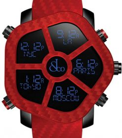 Jacob & Co Ghost Five Time Zone Red Carbon Fiber Men's Watch GH100.11.NS.PC.AND4D