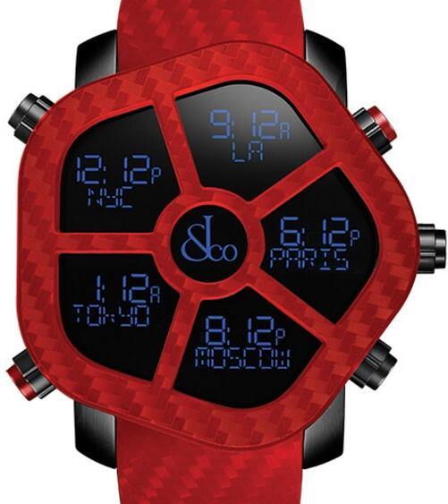Jacob & Co Ghost Five Time Zone Red Carbon Fiber Men's Watch, GH100.11.NS.PC.AND4D