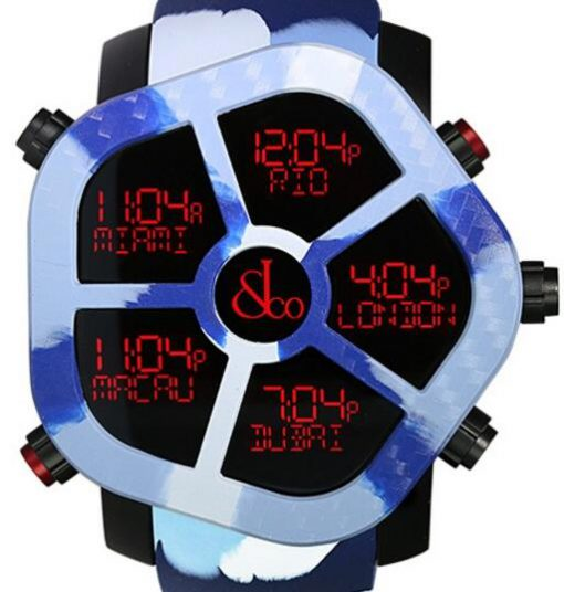 Jacob & Co Ghost Five Time Zone Camouflage Blue Carbon Fiber Men's Watch, GH100.11.NS.PC.ANP4D