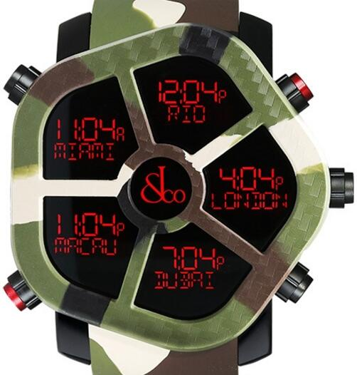 Jacob & Co Ghost Five Time Zone Camouflage Green Carbon Fiber Men's Watch, GH100.11.NS.PC.ANO4D