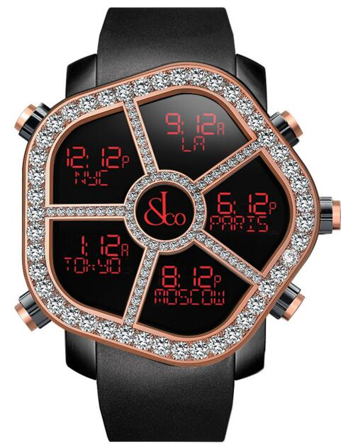 Jacob & Co Ghost Five Time Zone Steel/18KRose Gold Diamonds Men's Watch, GH100.14.RP.MR.A