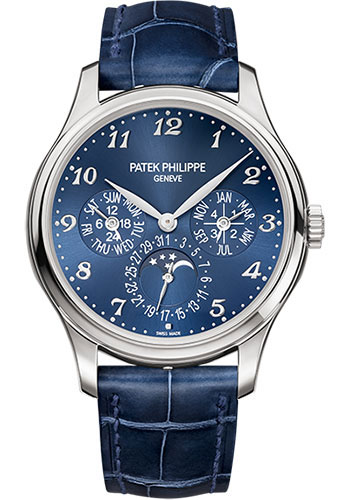 Patek Philippe Grand Complications Ultra-Thin Perpetual Calendar 39mm White Gold Blue Dial Men's Watch, 5327G-001