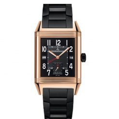Jaeger-LeCoultre Reverso Squadra Hometime Black 18K Rose Gold Men's Watch preowned-Q7002671