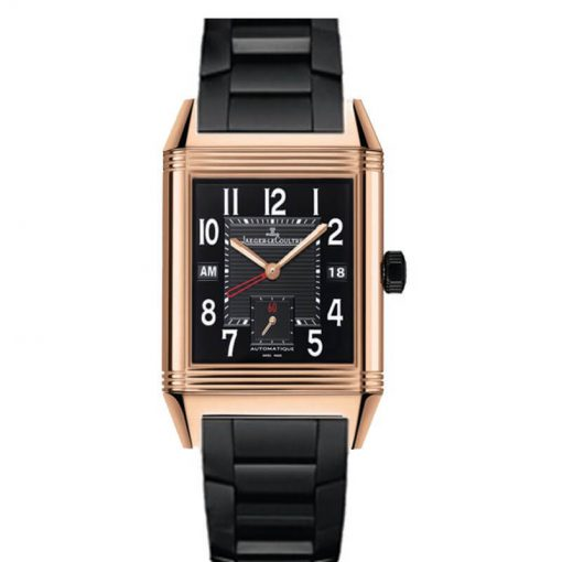 Jaeger-LeCoultre Reverso Squadra Hometime Black 18K Rose Gold Men's Watch, preowned-Q7002671