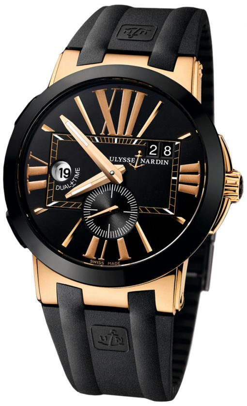 Ulysse Nardin Executive Dual Time 18K Rose Gold & Ceramic Men's Watch, preowned.246-00