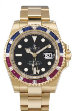 Rolex Oyster GMT-Master II 18K Yellow Gold & Diamond, Sapphire, Ruby Unisex Watch preowned-116748SARU