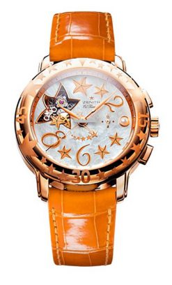 Zenith Star Sea Open 18K Rose Gold & Diamonds Ladies Watch Preowned-18.1233.4021/81.C528