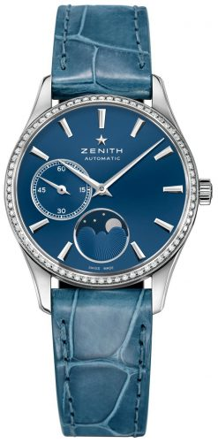 Zenith Elite Lady Moonphase Stainless Steel & Diamonds Ladies Watch Preowned-16.2310.692/51.C705