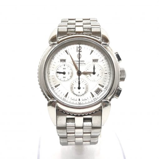 Concord Impresario SS Triple Date Chronograph Stainless Steel Men's Watch, Preowned-14.G9.210