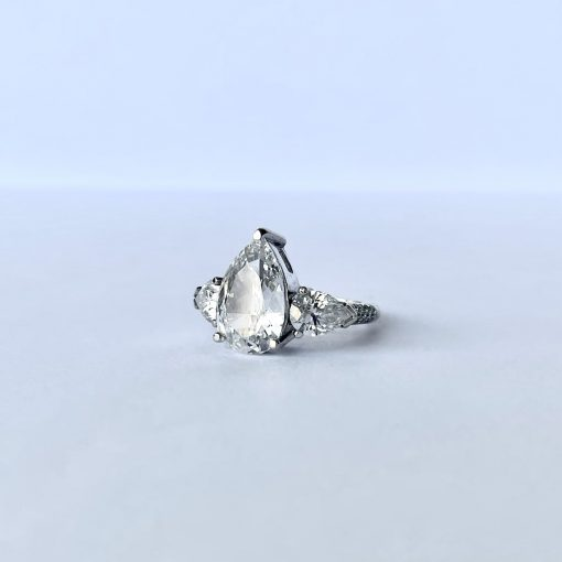 White Gold Ladies Pear Brilliant Ring, Pear-Brilliant-Ring-WG 5