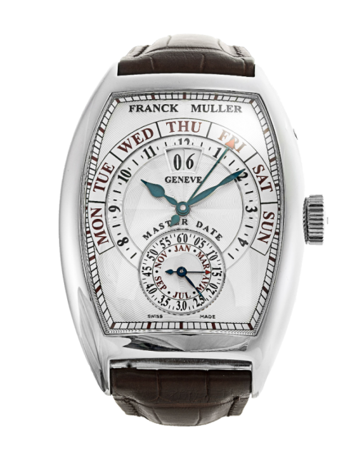 Franck Muller Cintree Curvex Master Date 18K White Gold Men's Watch, Preowned-8880 S6 GG DT