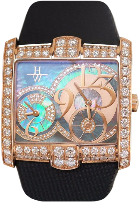 Harry Winston Avenue Squared 18K Rose Gold Diamonds Ladies Watch, Preowned-350-LQTZRL.MKD2-00 2