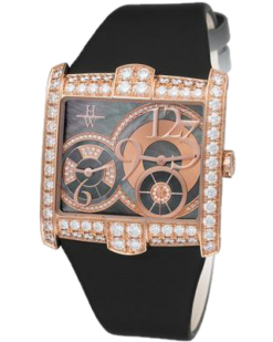 Harry Winston Avenue Squared 18K Rose Gold Diamonds Ladies Watch Preowned-350-LQTZRL.MKD2-00