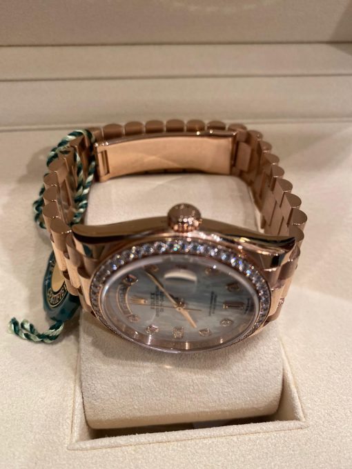 Rolex Day-date 18K Everose Gold & Diamonds Men's Watch, Preowned-128345RBR 2