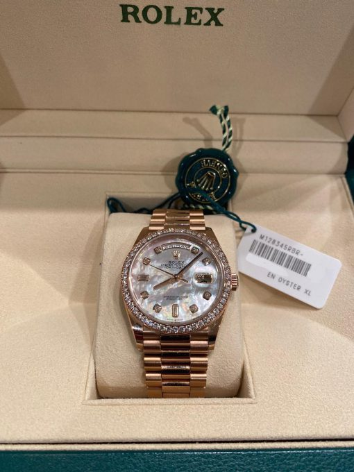 Rolex Day-date 18K Everose Gold & Diamonds Men's Watch, Preowned-128345RBR 3