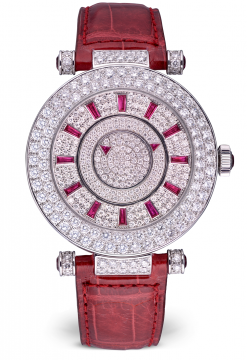 Franck Muller Double Mystery Ronde 18K White Gold, Diamonds & Rubies Ladies Watch preowned.DM42 D 2R CD