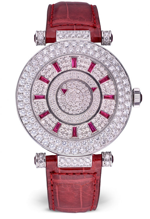 Franck Muller Double Mystery Ronde 18K White Gold, Diamonds & Rubies Ladies Watch, preowned.DM42 D 2R CD
