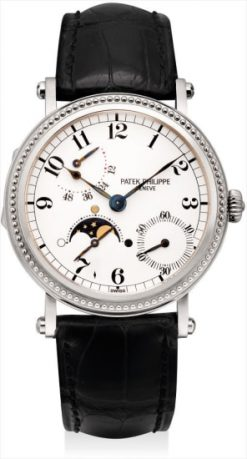 Patek Philippe Complications Power Reserve Moonphase 18k White Gold Diamonds Men's Watch Preowned-5015G-001