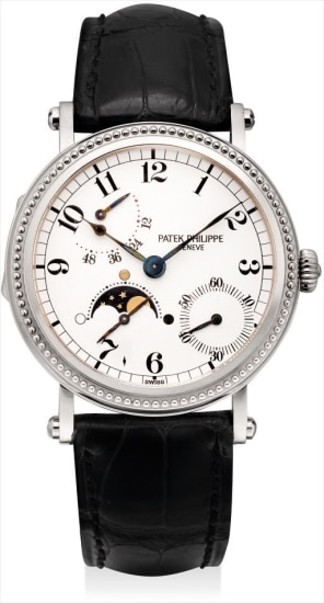 Patek Philippe Complications Power Reserve Moonphase 18k White Gold Diamonds Men's Watch, Preowned-5015G-001