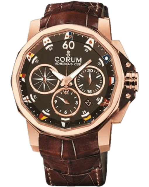 Corum Admirals Cup Chronograph 18K Rose Gold Men's  Watch, Preowned-44 753.692.55/0002 AG12