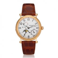 Patek Philippe Complications Power Reserve Moonphase 18k Rose Gold Men's Watch Preowned-5015R