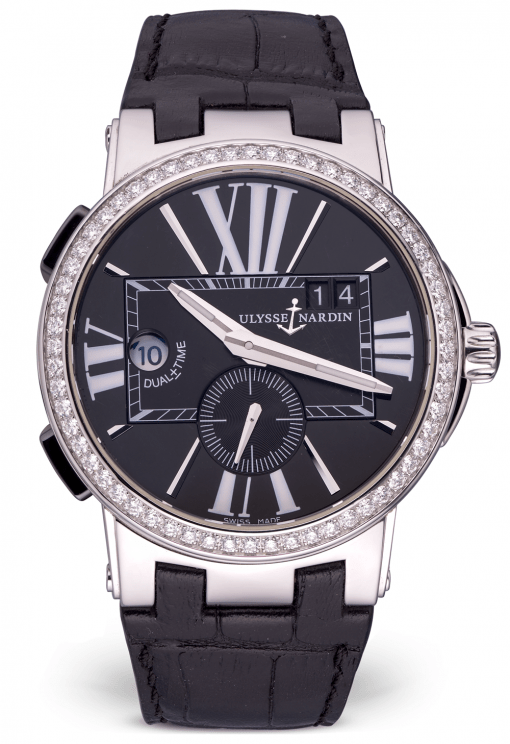 Ulysse Nardin Executive Dual Time Stainless Steel & Diamonds Men's Watch, Preowned-243-00B/42