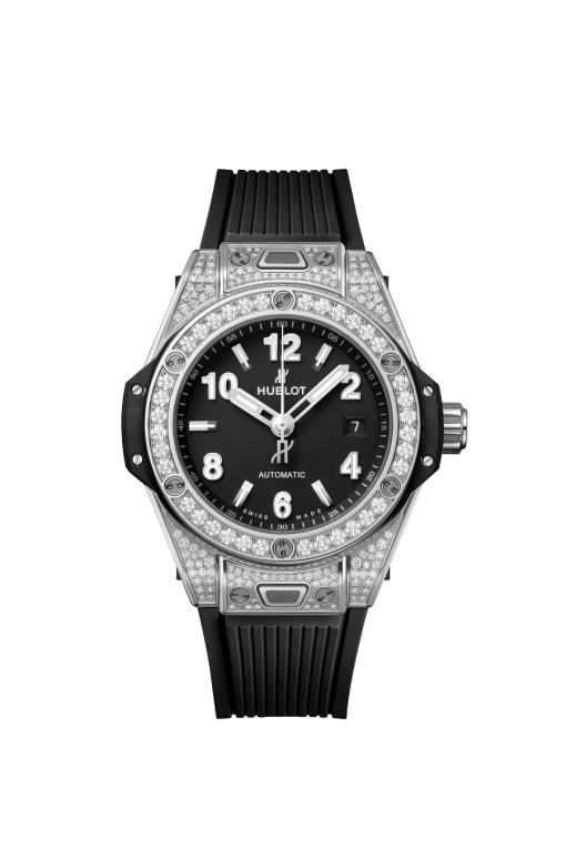Hublot Big Bang 33mm One Click Stainless Steel Pave Watch, 485.SX.1170.RX.1604