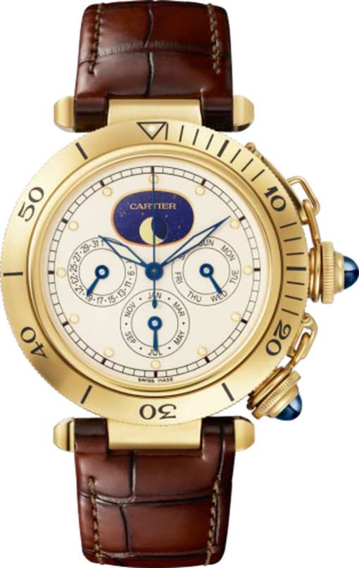 Cartier Pasha Chronograph 18K Yellow Gold Limited Edition 38mm Men's Watch, WGPA0022