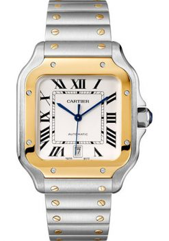Cartier Santos Stainless Steel & 18K Yellow Gold Large Model Men's Watch W2SA0009
