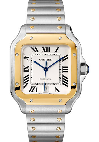 Cartier Santos Stainless Steel & 18K Yellow Gold Large Model Men's Watch, W2SA0009