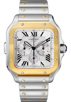 Cartier Santos Stainless Steel & 18K Yellow Gold Chronograph Extra Large Model Watch W2SA0008