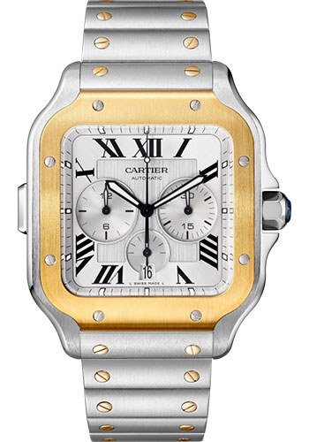 Cartier Santos Stainless Steel & 18K Yellow Gold Chronograph Extra Large Model Watch, W2SA0008