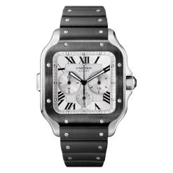 Cartier Santos Black Stainless Steel Chronograph Extra Large Model Watch WSSA0017
