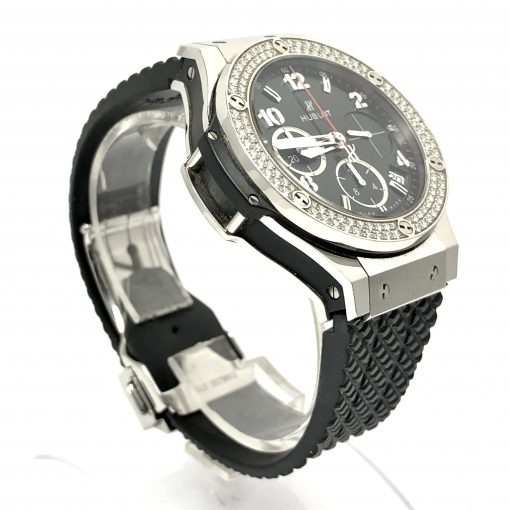 Hublot Big Bang Stainless Steel Rubber Diamonds Automatic Men's Watch, Preowned-341.SX.130.RX.114 3