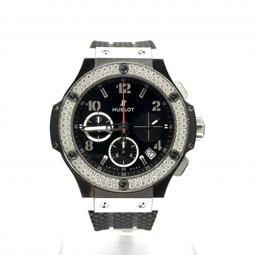 Hublot Big Bang Stainless Steel Rubber Diamonds Automatic Men's Watch, Preowned-341.SX.130.RX.114 2