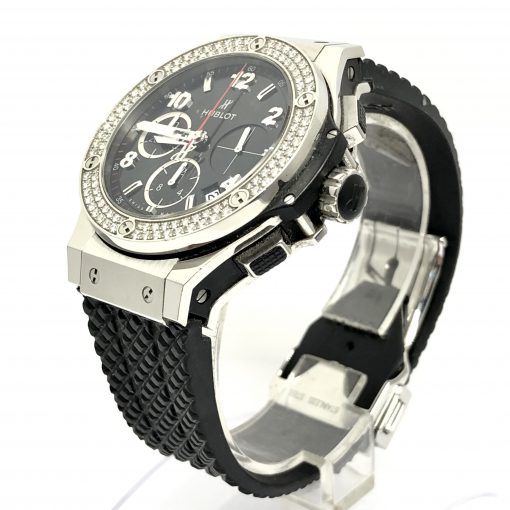 Hublot Big Bang Stainless Steel Rubber Diamonds Automatic Men's Watch, Preowned-341.SX.130.RX.114 4