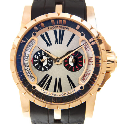 Roger Dubuis Excalibur Triple Time Zone 18K Rose Gold Men's Watch, Preowned-EX45-1448-50-00/0RR00/B